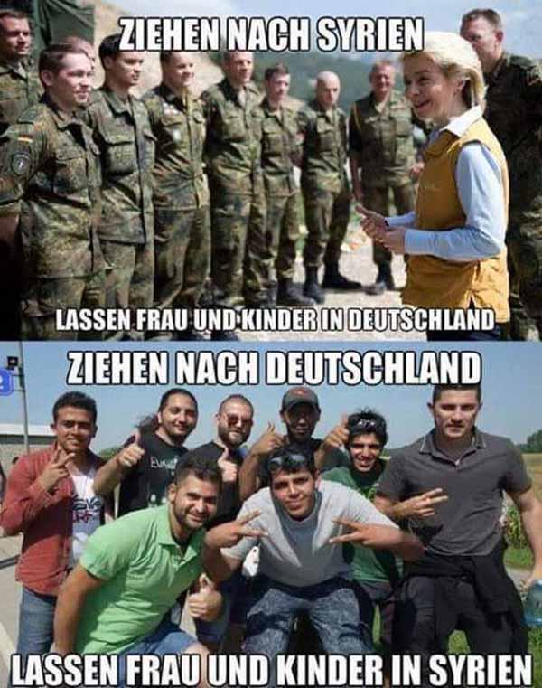 Deutsche Soldaten ziehen nach Syrien, wehrfähige Männer ziehen nach Deutschland. Surreale Welt #Date:#