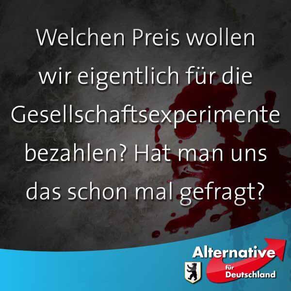 Alternative für Deutschland (AfD) fragt, wer soll diese Gesellschaftsexperimente bezahlen? Wir wurden nicht gefragt. #Date:03.2016#
