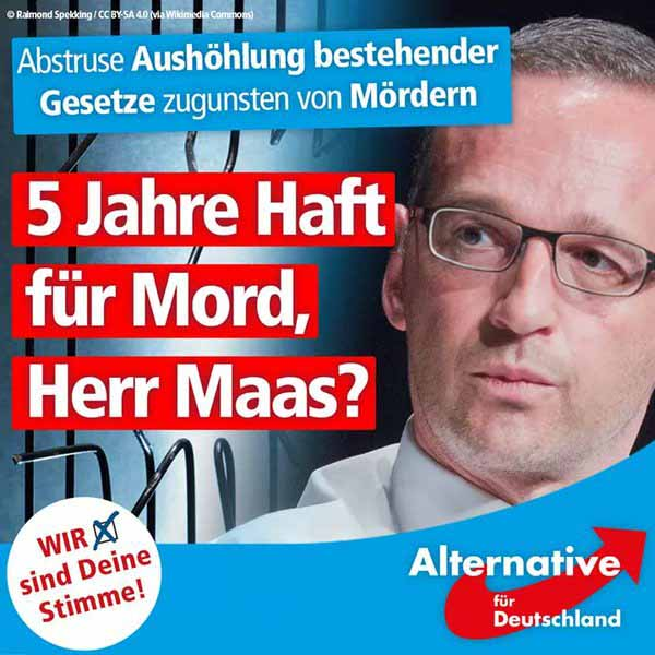 Bundesjustizminister Maas will die Strafandrohung für Mord auf bis zu 5 Jahre herabsetzen. #Date:03.2016#
