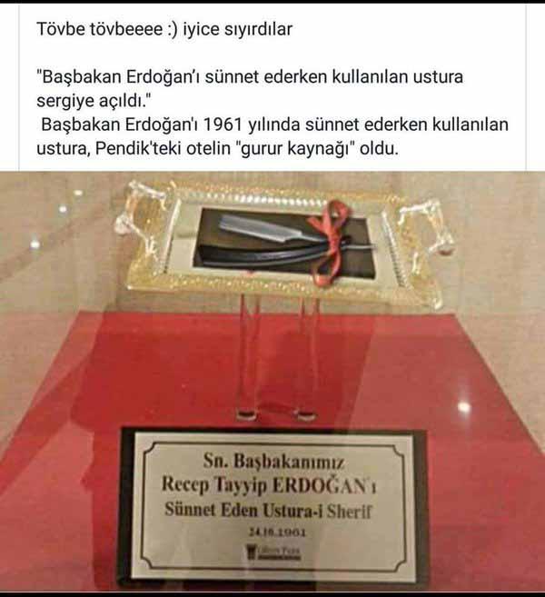 Das Messer mit dem Erdogan beschnitten wurde als Reliquie in der Türkei. Das ist nicht normal, was der Islam für ein Scheiss ist. #Date:03.2016#