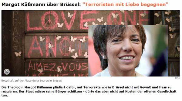 Margot Käßmann, vor ihrer Promillefahrt Bischöfin, meint, man soll den Terroristen von Brüssel mit Liebe begegnen. #Date:03.2016#