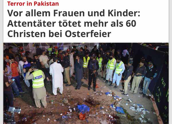 In Pakistan wurden bei einer Osterfeier mehr als 60 Christen durch Islamisten getötet. #Date:03.2016#
