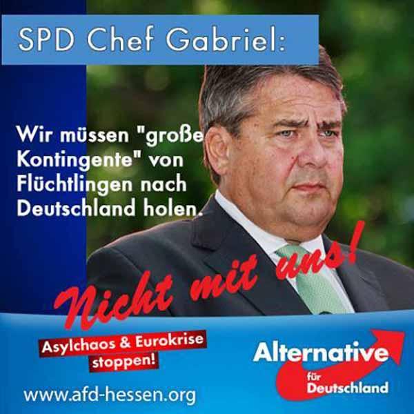 SPD Gabriel fordert, große Kontingente an Flüchtlingen nach Deutschland zu holen. Desgleichen fordert er mehr muslimische Beamte und muslimische Richter. #Date:04.2016#