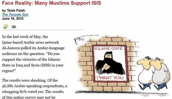 Bei einer Umfrage des arabischen Senders Al-Jazeera im Mai 2015 bei seinen arabischsprachigen Zuschauern, sprachen sich von den rund 57000 Teilnehmern 81% dafür aus, dass mit den Aktionen des IS einverstanden seien. #Date:04.2016#