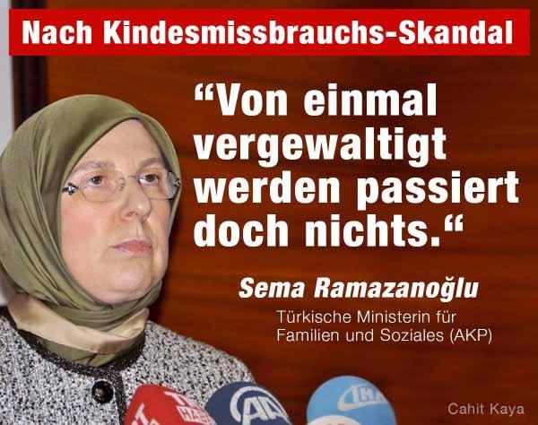 Von einmal vergewaltigt werden, passiert doch nichts. Meinung der türkischen Ministerin für Familien und Soziales. Der Elite-Partner für Deutschland. #Date:04.2016#