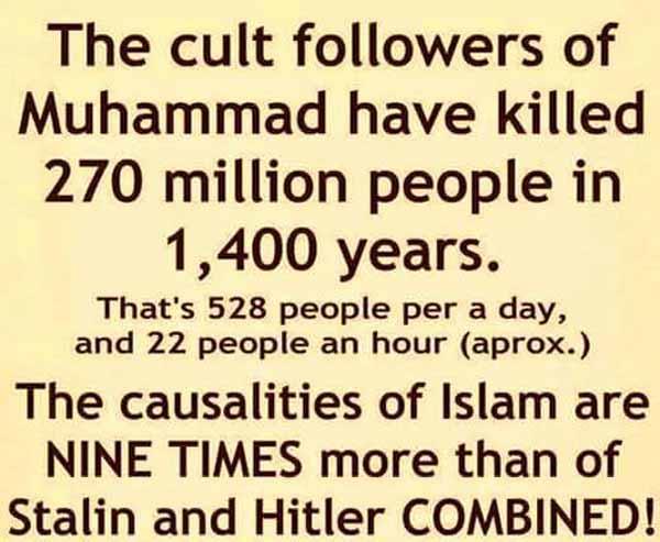 Die Mitglieder der Sekte Islam haben in 1400 Jahren über 270 Millionen Menschen getötet.  #Date:03.2016#