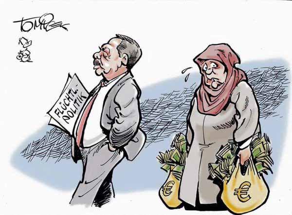 Lustig ist das nicht mehr. Merkel wegen ihrer toxischen Flüchtlingspolitik in der Rolle der Erdogan ergebenen Muslima #Date:04.2016#