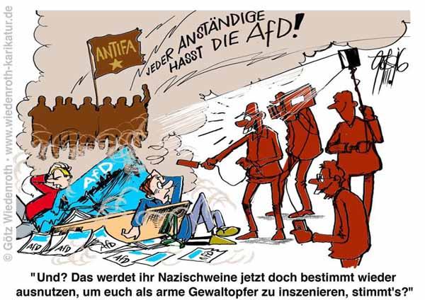 Deutschland 2016 und die gelebte Versammlungsfreiheit für die AfD. Ein Hoch die Verfassungstreue der guten Buntmenschen. #Date:04.2016#