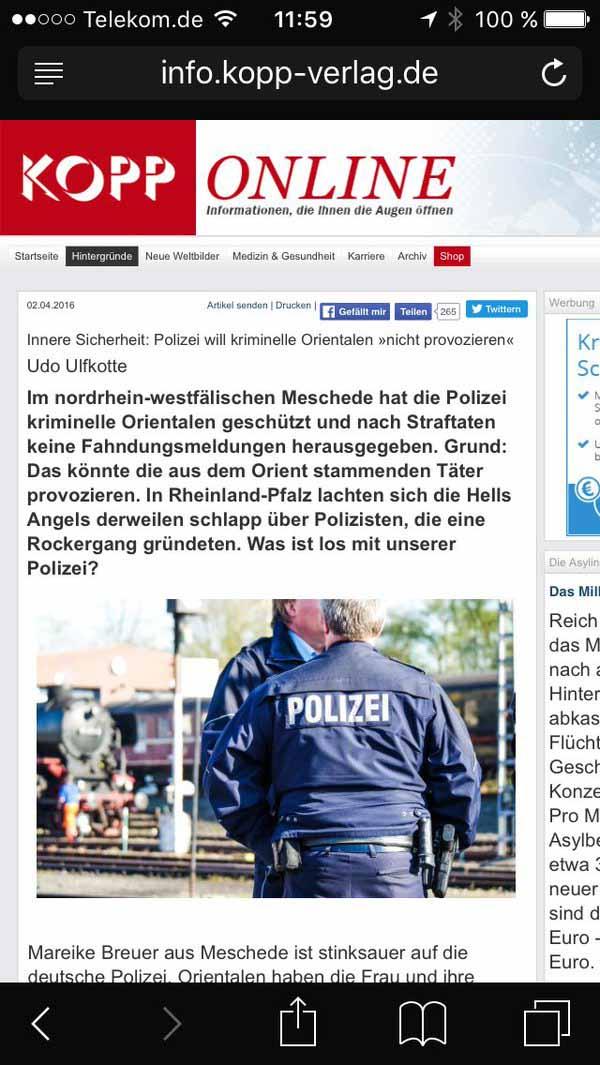 Was ist los mit der deutschen Polizei. Die einen weigern sich kriminelle Orientalen zu verfolgen, die anderen gründen Rockerclub. #Date:04.2016#