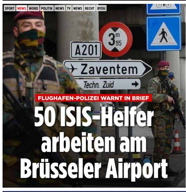 Wer hätte das gedacht. Arbeiten doch tatsächlich ISIS-Sympathisanten am Brüsseler Flughafen. #Date:04.2016#
