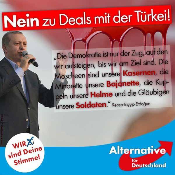 Erdogan ruft Türken in Deutschland auf, den Islam zu verbreiten und auf eine Islamisierung Deutschlands hinzuwirken. Kein Probelm für Problem-Kanzlerin Merkel für Freundschaft zu Erdogan #Date:04.2016#