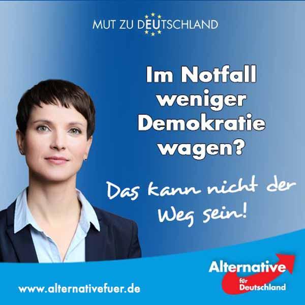 Im Notfall weniger Demokratie wagen ist der falsche Weg. Aber Regierungen ohne Unterstützung im Volk müssen zu solchen Mitteln greifen. Merkel muss weg. #Date:04.2016#