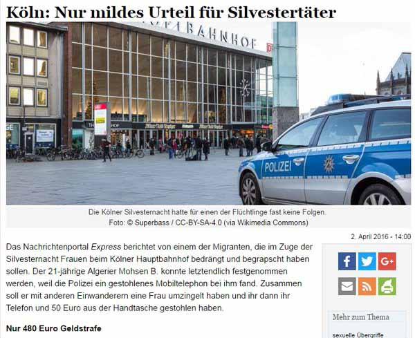 Nur mildes Urteil für Silvestertäter von Köln. Wer hätte das von der deutschen Justiz gedacht (Satire aus). #Date:04.2016#