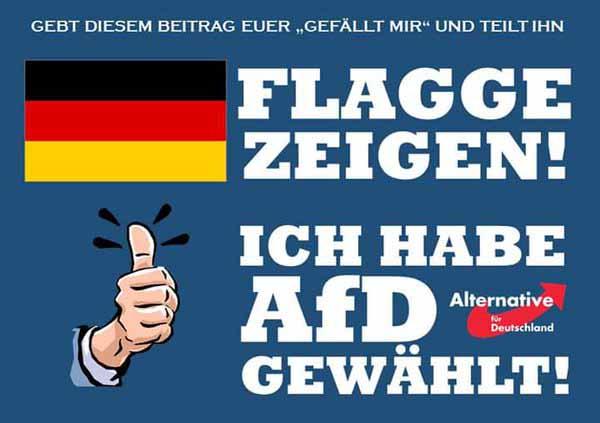 Flagge zeigen. Niemand braucht sich in irgendeiner Weise wegen seiner Affinität oder Zugehörigkeit zur AfD bedeckt halten. NOCH habe wir ein Grundgesetz. #Date:04.2016#