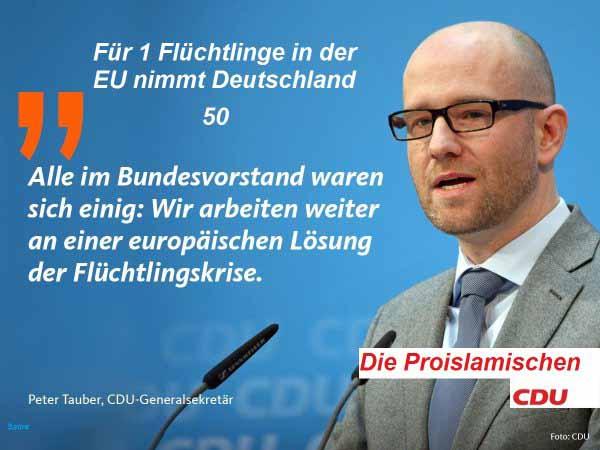 Die Pro-Islamische CDU propagiert lügend eine europäische Lösung zu Lasten Deutschlands. #Date:04.2016#