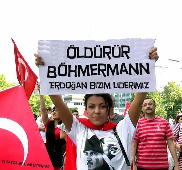 Der  türkische Mob macht mobil gegen den Jan Böhmermann vom ZDF. Auch Merkel ist Böhmermann in den Rücken gefallen. Merkel und die Bundesregierung gefallen sich in ihrem Pakt mit dem Türken Erdogan und gehen dafür über moralische Leichen. #Date:#
