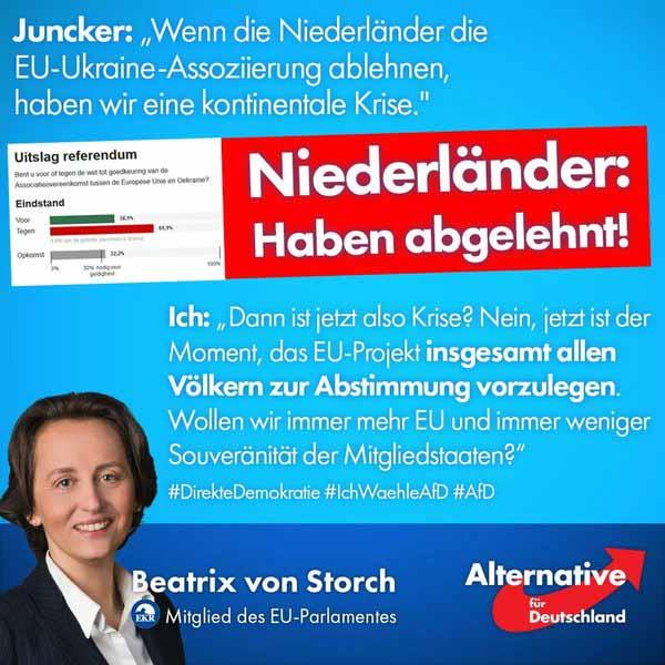 Beatrix von Storch zur Ablehnung der niederländischen Bürger des EU-Ukräine-Abkommens #Date:04.2016#