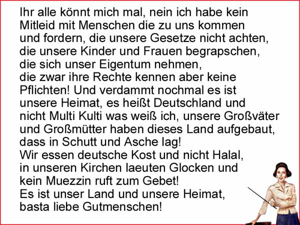 Ein klares Statement zur Asylkultur, zu Deutschland und zu unseren Werten. Scheiss auf MultiKulti #Date:04.2016#