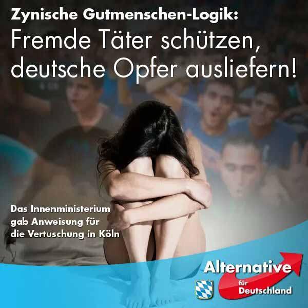 Zynische Gutmenschen-Logik: Fremde Täter schützen, deutsche Opfer ausliefern!. Das Innenministerium in NRW gab Anweisung für die Vertuschung von Köln. #Date:04.2016#