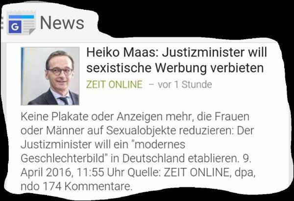 Taschennapoleon Justizminister Maas will Werbung mit Sex-Touch verbieten. Hat tausend andere Baustellen in seinem  maroden System. #Date:04.2016#
