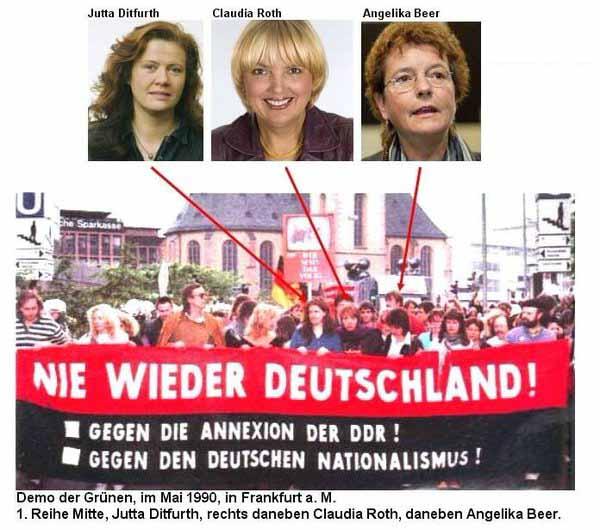 Ditfurth, Roth und Beer von den Grünen: Nie wieder Deutschland, keine Annexion der DDR im Mai 1990 #Date:04.2016#