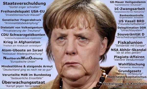 Die Negativ-Erfolge der Merkel-Regierung. Staatsverschuldung, TTIP, Diebstahl von Volkseigentum, 1 EURO Zwangsarbeit, Bankenkontrolle, Fiskalunion, NSA Abhörskandal, Wahlfäschung, Amtseid Bruch. #Date:04.2016#