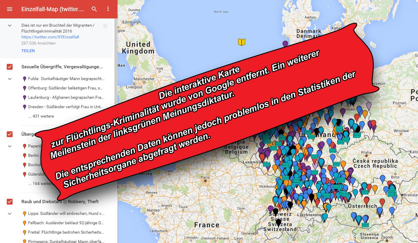 Interaktive Tatort-Karte über Migranten-Kriminalität, die die von Tagträumern propagierte Einzelfall-These entkräftigt